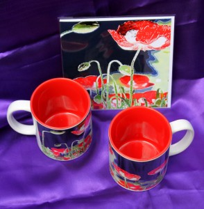 Two mugs and matching card in gift set