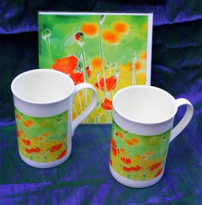 Two mugs and a card in matching gift set